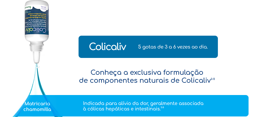 5 gotas de 3 a 6 vezes ao dia para que todos tenham uma noite tranquila. Conheça a exclusiva formulação de componentes naturais de Colicaliv. Matricariachamomilla: Indicada para alívio da dor, geralmente associada à cólicas hepáticas e intestinais.